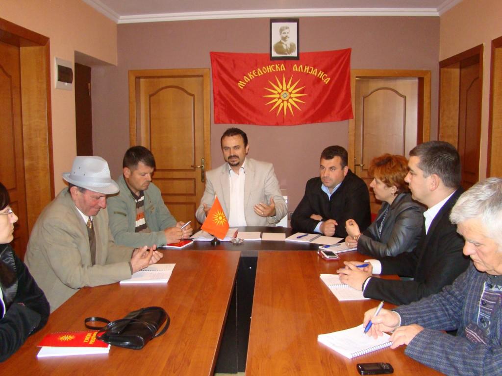 Претседателството на Македонска алијанса во Тирана